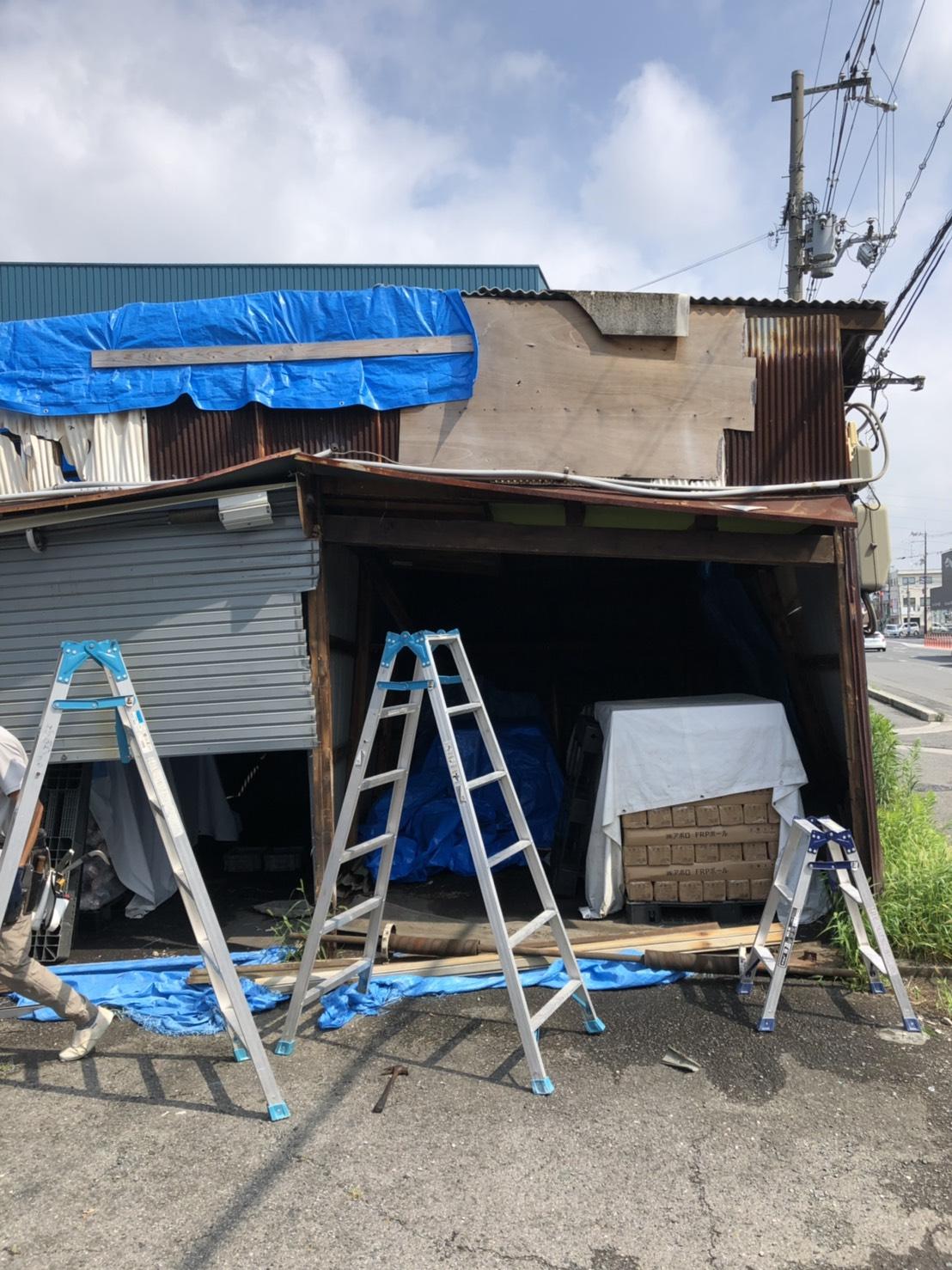 崩壊寸前倉庫の修繕
