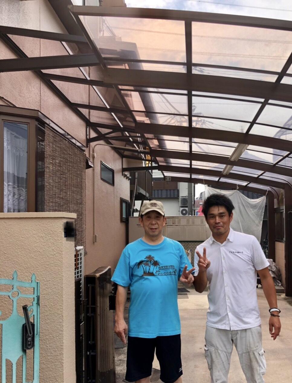 東大阪市H様 カーポート工事・ベランダ屋根修繕のお声